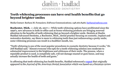Teeth whitening processes can have oral health benefits that go beyond brighter smiles