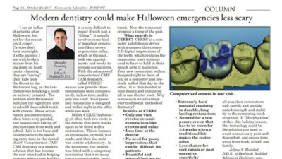 "Column by Dr. Haddad titled ""Modern dentistry could make Halloween emergencies less scary"""