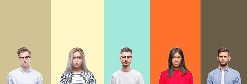 "A group of individuals with what individuals would call ""resting b*tch face"" (RBF) on different backgrounds of colors. Essentially, many people think that they look like they are grumpy or angry when their face is in a neutral or relaxed position."