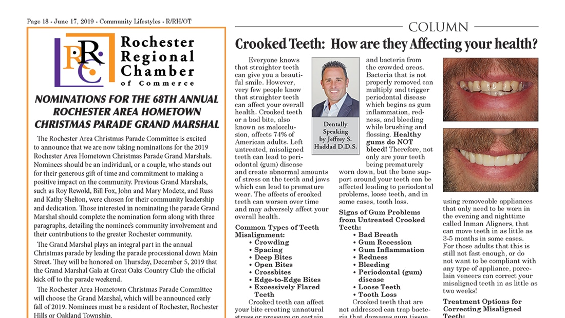 "June 2019 column by Dr. Haddad, titled ""Crooked Teeth: How are they Affecting your health?"""