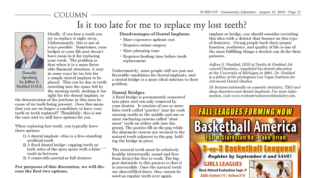 "August 2019 column by Dr. Haddad titled, ""Is it too late for me to replace my lost teeth?"""