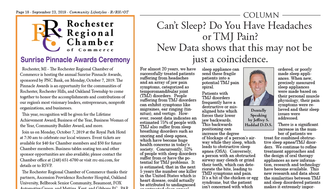 Newspaper article from September 2019 on headaches and TMJ pain by Dr. Haddad