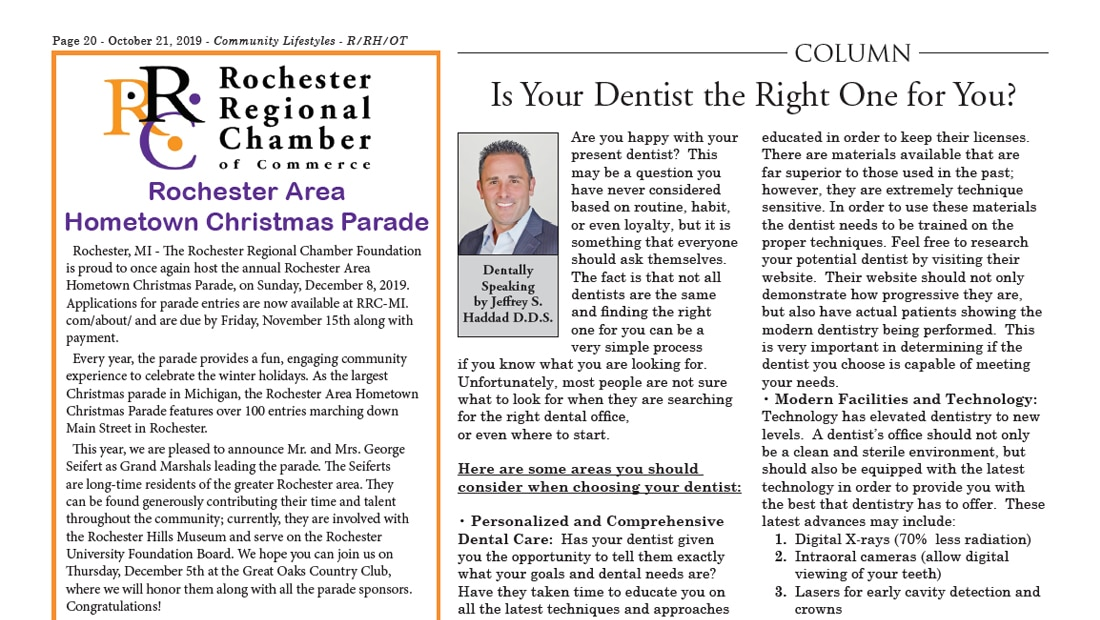 "October 2019 article with a column titled ""Is Your Dentist the Right One for You?"" by Dr. Haddad"
